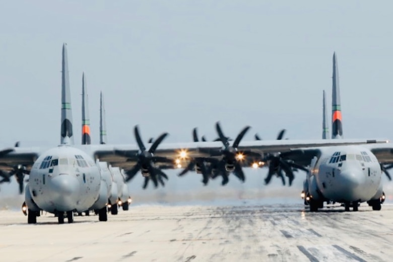 6 California Air National Guard C-130J Super Hercules aircraft prepare for takeoff at the Channel Islands Air National Guard Station, Port Hueneme, California. May 27, 2020. California State Guard photo by Staff Sgt. Todd Senff.