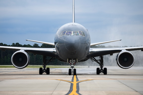 The 916th Air Refueling Wing has an aircraft on the ramp once again, as the wing accepted its first of twelve KC-46A Pegasus aircraft, marking the occasion in a closed ceremony, June 12.