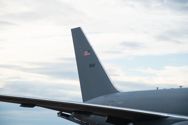The first KC-46 Pegasus lands at Seymour Johnson Air Force Base, North Carolina, June 12, 2020. The KC-46 will fall under the 916th Air Refueling Wing, replacing the KC-135 Stratotanker. (U.S. Air Force photo by Maj Cruz A. Dolak)