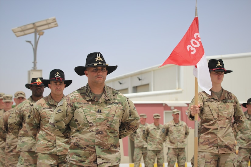 U.S. Army Soldiers from the 1st Squadron, 303rd Cavalry Regiment (1-303 CAV), Washington Army National Guard, stand in formation during the transfer of authority ceremony
