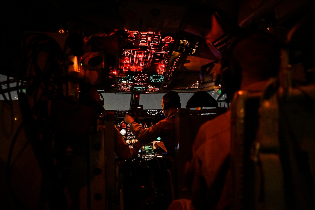 A U.S. Air Force KC-135 Stratotanker aircrew with the 28th Expeditionary Air Refueling Squadron assigned to Al Udeid Air Base, Qatar, prepare to land at Al Udeid AB, May 21, 2020.
