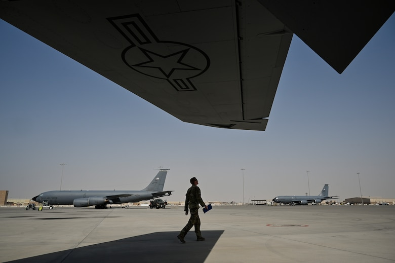 A U.S. Air Force KC-135 Stratotanker aircraft commander with the 28th Expeditionary Air Refueling Squadron assigned to Al Udeid Air Base, Qatar, conducts a preflight walk-around inspection at Al Udeid AB, May 21, 2020.