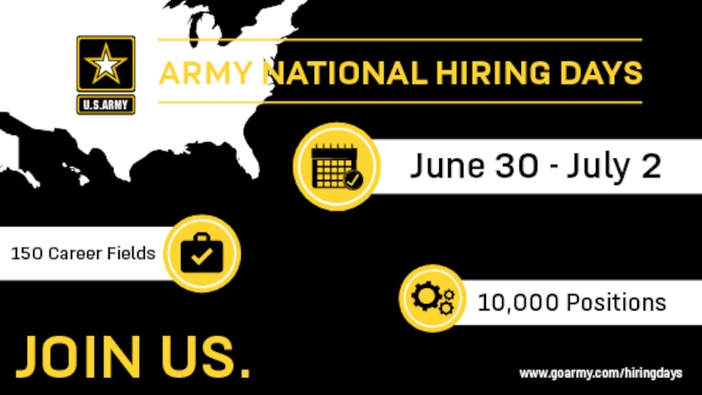 Army National Hiring Days infographic reading: June 30-July 2. 150 Career Fields. 10,000 Positions. Join Us. www.goarmy.com/hiringdays