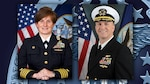 Female Navy captain and male Navy captain against a DLA graphic background.