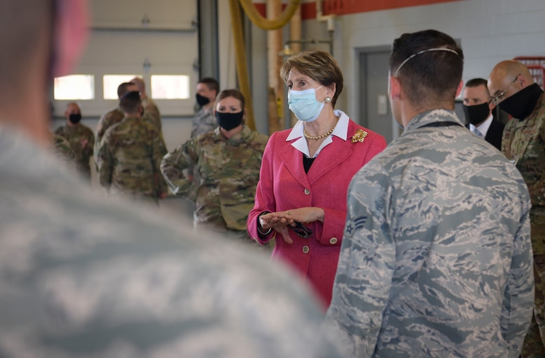 Secretary of the Air Force Barbara Barrett, left, speaks with 509th Civil Engineer Squadron fire department members during a visit at Whiteman Air Force Base, Missouri, June 11, 2020. Barrett spoke with base leaders, first responders and maintenance personnel across the installation to understand Team Whiteman's mission in maintaining global support and combat readiness during COVID-19. (U.S. Air Force photo by Staff Sgt. Dylan Nuckolls)