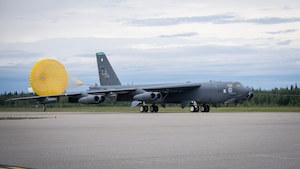 A B-52H Stratofortress deployed from Barksdale Air Force Base, La., arrives at Eielson Air Force Base, Alaska, to conduct Bomber Task Force operations, June 14, 2020. Strategic bomber missions demonstrate the credibility of our forces to address a diverse and uncertain security environment. (U.S. Air Force photo by Senior Airman Lillian Miller)