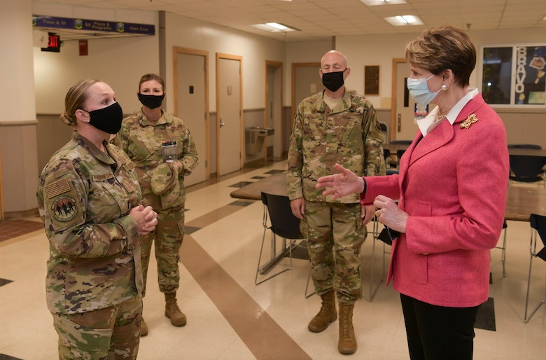 Secretary of the Air Force Barbara Barrett meets with 509th Security Forces Squadron members during a visit at Whiteman Air Force Base, Missouri, June 11, 2020. During her visit, Barrett spoke with base leaders, first responders and maintenance personnel across the installation to learn the B-2 Spirit stealth bomber's critical role of global deterrence as part of the nuclear triad. (U.S. Air Force photo by Staff Sgt. Dylan Nuckolls)