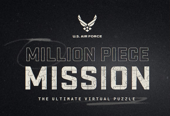 Black screen with white Air Force Logo, and text that reads million piece mission: the ultimate virtual puzzle
