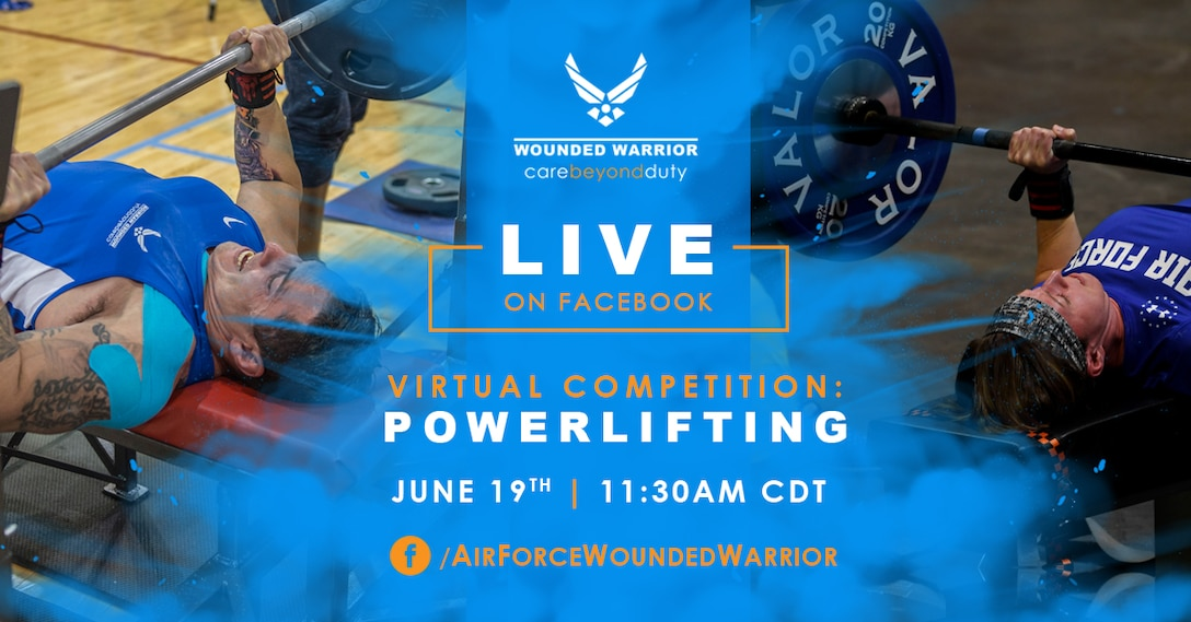 Join us for our first ever Virtual Powerlifting Competition, Friday, June 19th at 11:30 a.m. CDT. (U.S. Air Force Graphic by Kortinae Lozano)