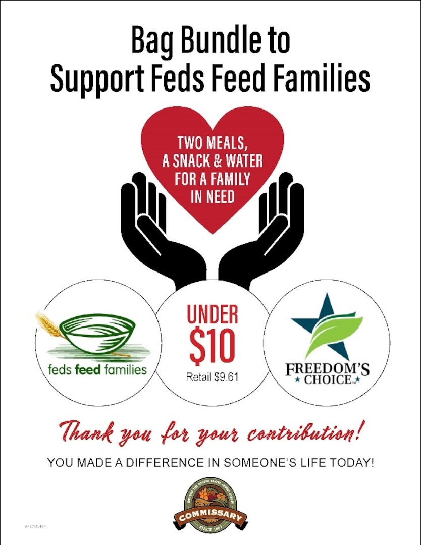 The USDA's Feds Feed Families (FFF) campaign for 2021 began June 1 and continues through Aug. 31 for federal workers and commissary customers and employees who want to donate to food banks and pantries in their area. (Defense Commissary Agency Public Affairs graphic)