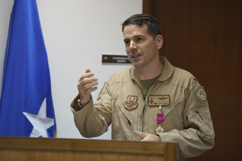AL DHAFRA AIR BASE, United Arab Emirates --Col. Jordan Grant took command of the U.S. Air Force Central Command Air Warfare Center during a ceremony presided by Lt. Gen. Joseph T. Guastella, U.S. AFCENT commander here June 10, 2020. (U.S. Air Force photo by Master Sgt. Patrick OReilly)