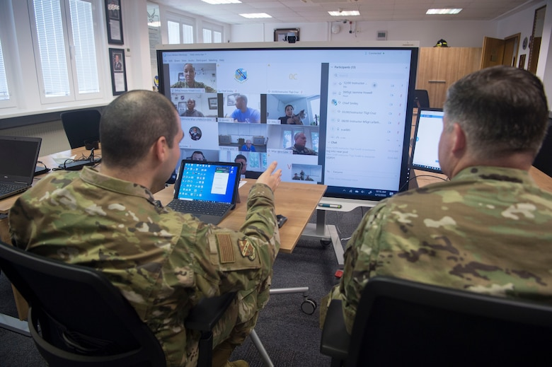 Kisling Noncommissioned Officer Academy staff test the virtual platforms for the upcoming online professional military education course at Kapaun Air Station, Germany, June, 12, 2020. The Academy cadre has been preparing to transition from their in-residence course to a virtual platform due to COVID-19 restrictions, and begins the first online course in Europe June 15, 2020. (U.S. Air Force photo by TSgt Stephen Ocenosak)