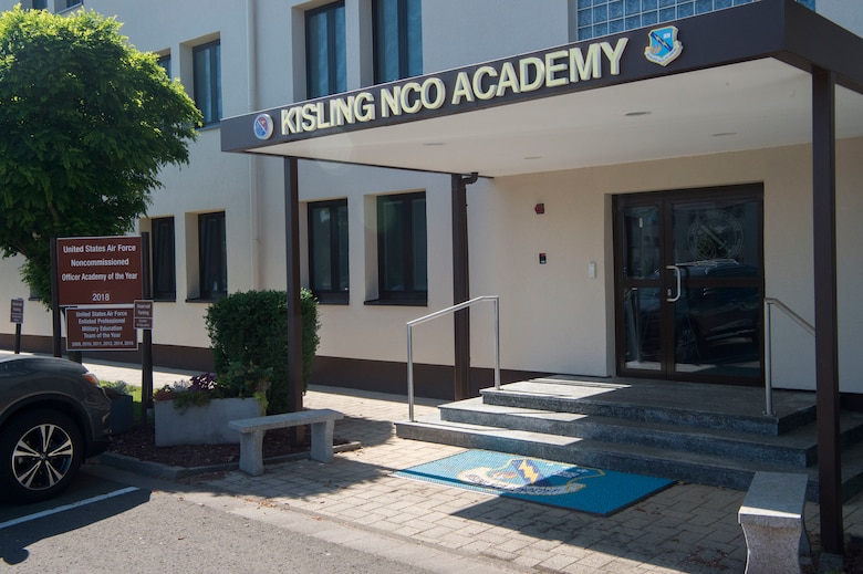 Pictured is the main entrance to the Kisling Noncommissioned Officer Academy, Kapaun Air Station, Germany, June 12, 2020. The academy cadre transitioned their in-residence course to a virtual platform due to COVID-19 restrictions, and will begin the first online course, June 15, 2020. (U.S. Air Force photo by Tech. Sgt. Stephen Ocenosak)
