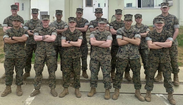 The winning squad consisted of: Sgt. Francisco Corona, Cpl. Jason Holdorf, Cpl. Garret Groshong, Cpl. Harris Alliger, Lance Cpl. Chloe Pham, Lance Cpl. Santino Imparato, Lance Cpl. John Andrzejek, Lance Cpl. Alexander Griffin, Lance Cpl. Kevin Argueta, Lance Cpl. Tyler Helms, Lance Cpl. Austin Atwood, Lance Cpl. Bryan Zuniga, Lance Cpl. William Agnew and Petty Officer 3rd Class Joseph Iffrig. Photo taken prior to COVID-19 social distancing guidelines. (U.S. Marine Corps Courtesy Photo / Released)