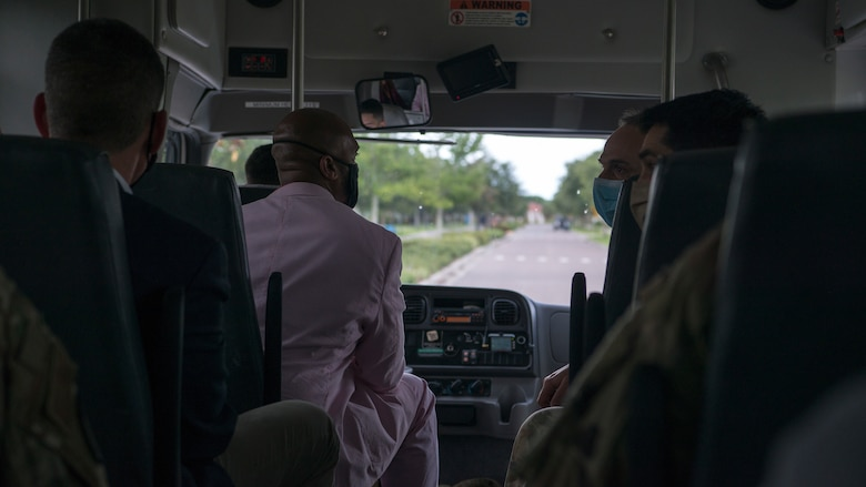 6th Air Refueling Wing and 6th Mission Support Group leadership travel with Hon. John Henderson, the Assistant Secretary of the Air Force for Environment, Installations and Energy, to base housing on MacDill Air Force Base, Fla., June 10, 2020.