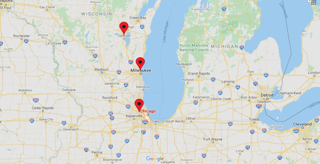 map showing office locations in chicago, milwaukee, and oshkosh