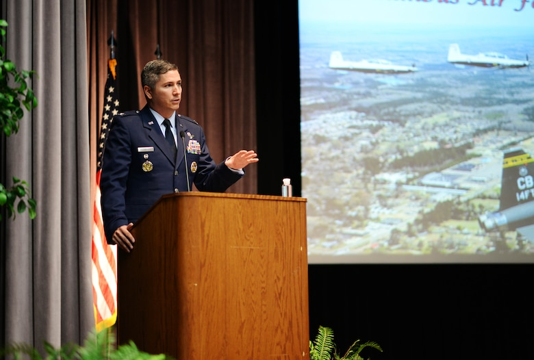 Col. David Fazenbaker, 14th Flying Training Wing vice wing commander, speaks at the graduation ceremony for Specialized Undergraduate Pilot Training Class 20-16/17 on June 12, 2020, at Columbus Air Force Base, Miss. After graduating pilot training at Columbus AFB, pilots will now go to their specified base to start training on their assigned aircraft. (U.S. Air Force photo by Senior Airman Keith Holcomb)