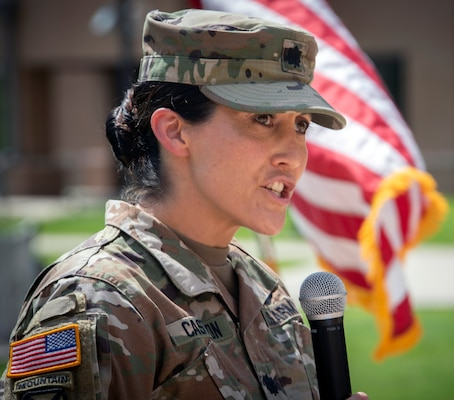 Army Lt. Col. Andrea Castillon, Warrior Transition Battalion commander, delivers remarks during a tree dedication ceremony at Joint Base San Antonio-Fort Sam Houston June 3. The WTB will be renamed as the Soldier Recovery Unit on June 23, 2020.