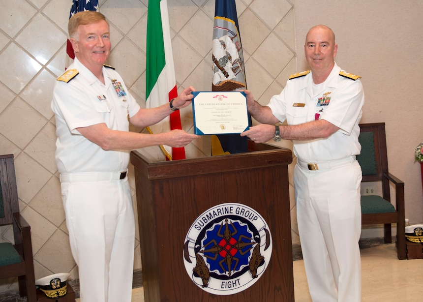 200616-N-DF478-0053 NAPLES, Italy (June 16, 2020) – Adm. James G. Foggo III, commander, U.S. Naval Forces Europe-Africa, presents Rear Adm. William J. Houston with the Legion of Merit for his meritorious conduct in the performance of outstanding services and achievements while serving as Commander, Submarine Group (CSG) 8 during a change of command ceremony in Naples, Italy, June 16, 2020. Rear Adm. Anthony C. Carullo relieved Rear Adm. William J. Houston as commander of the submarine group. U.S. 6th Fleet, headquartered in Naples, Italy, conducts the full spectrum of joint and naval operations, often in concert with allied and interagency partners in order to advance U.S. national interests and security and stability in Europe and Africa. (U.S. Navy photo by Mass Communication Specialist 1st Class Marvin E. Thompson Jr.)