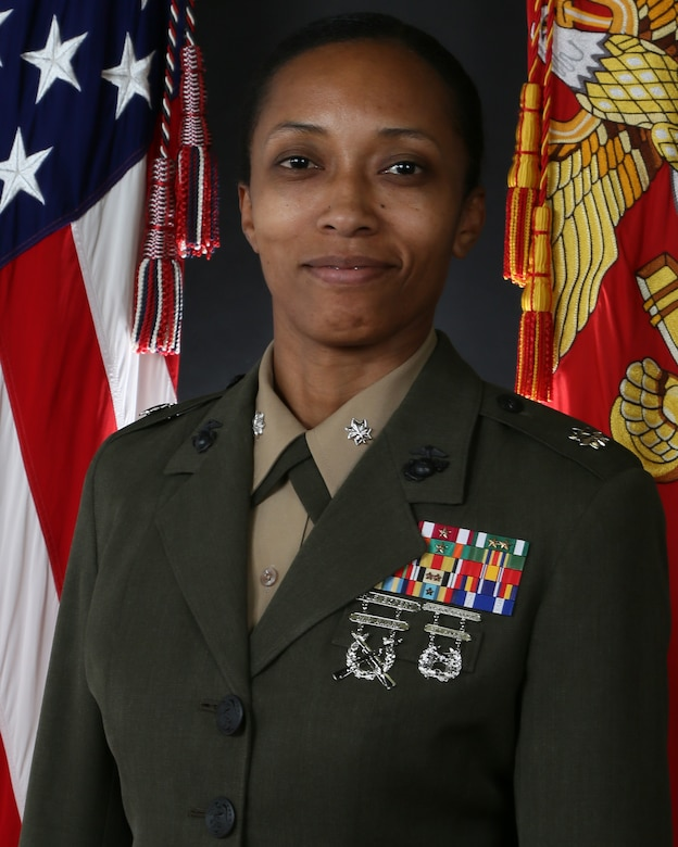Command portrait of Lt. Col Christina R. Henry, commanding officer of 2nd Maintenance Battalion, 2nd Marine Logistics Group.