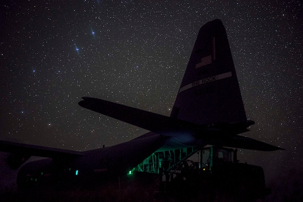 A U.S. Air Force C-130J Super Hercules from the 75th Expeditionary Airlift Squadron (EAS), onloads Department of Defense personnel in Somalia, June 10, 2020. The 75th EAS provides strategic airlift capabilities across the Combined Joint Task Force - Horn of Africa (CJTF-HOA) area of responsibility. (U.S. Air Force photo by Staff Sgt. Shawn White)