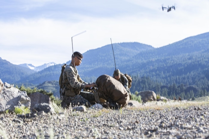 On June 11, 2020, Marines & Sailors from Headquarters Company, 5th Marine Regiment; 3d Battalion, 5th Marine Regiment; and 3d Marine Air Wing conducted an air assault from Marine Corps Air Station Camp Pendleton to the Marine Corps Mountain Warfare Training Center in Bridgeport, California as part of Mountain Exercise 5-20.