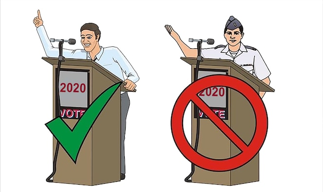 With 2020 being an election year, it's important for all Department of Defense members to know regulations concerning political activities.(U.S. Air Force graphic by James Luman)