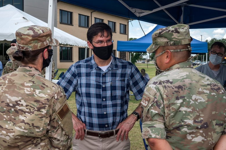 U.S. Secretary of Defense Dr. Mark T. Esper visits Reid Clinic June 16, 2020, at Joint Base San Antonio-Lackland, Texas. Esper met with AETC leaders to see firsthand how Basic Military Training is fighting through COVID-19 with health protection measures in place and adapting operations to current Centers for Disease Control and Prevention Guidance. The visit also allowed him to witness how a citizen becomes an Airman during COVID-19.