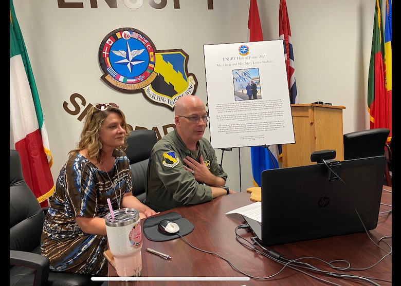 Col. Russell Driggers, 80th Flying Training Wing commander, and his wife, Janet, hold a virtual Hall of Fame induction ceremony for Glenn Barham, President of the Sheppard Military Affairs Committee, at Sheppard Air Force Base, Texas, June 15, 2020. Barham was appointed to the Euro-NATO Joint Jet Pilot Training Program's Hall of Fame for all of his support towards the 80th Flying Training Wing. (U.S. Air Force photo by 2nd Lt. Megan Morrissey)