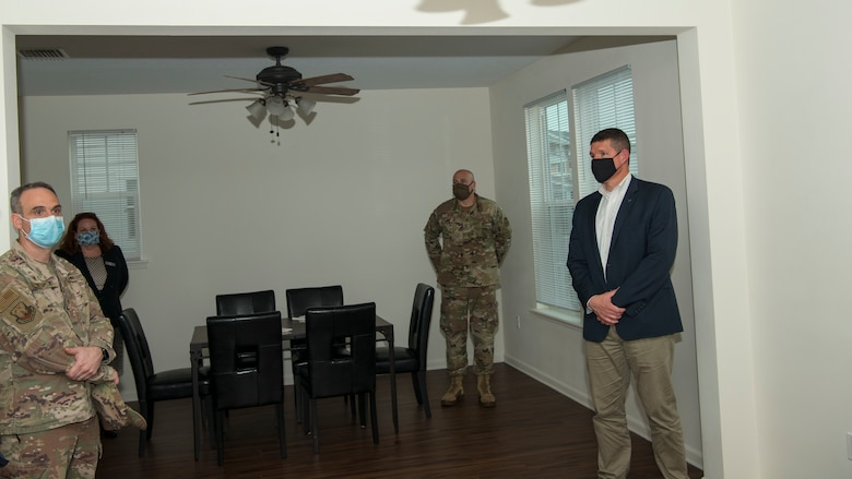 Hon. John Henderson, the Assistant Secretary of the Air Force for Environment, Installations and Energy, meets with 6th Air Refueling Wing leadership at a house on MacDill Air Force Base, Fla., June 10, 2020.