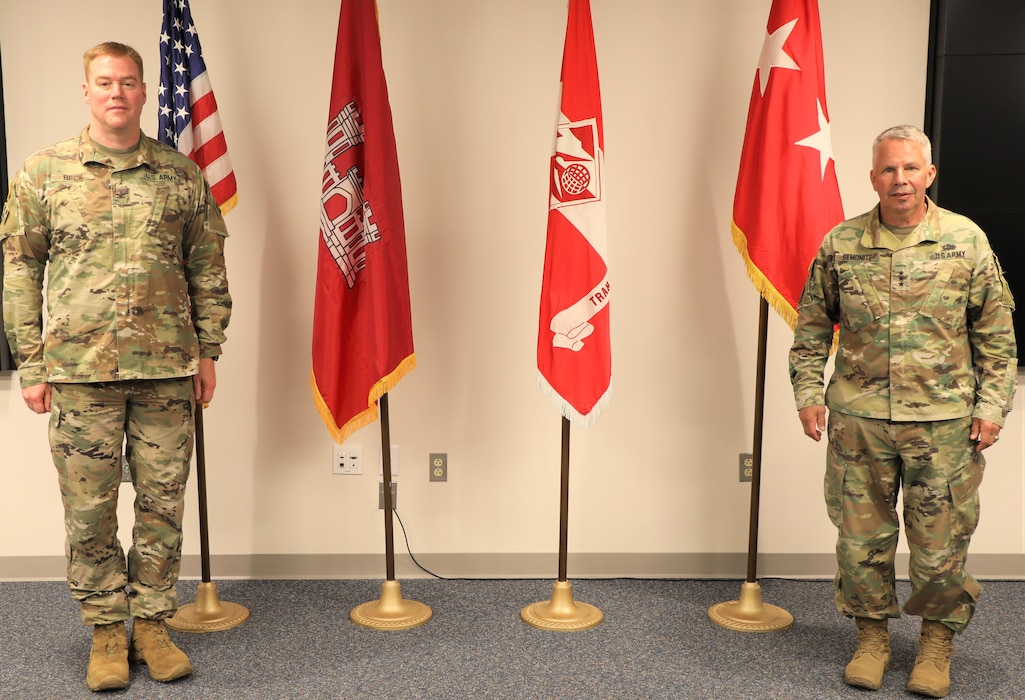 Col. Christopher Beck (left) relinquished command of the U.S. Army Corps of Engineers Transatlantic Division during a Relinquishment of Command ceremony June 16, 2020, in Winchester, Virginia. Lt. Gen. Todd T. Semonite (right), the 54th Chief of Engineers and U.S. Army Corps of Engineers Commanding General, hosted the event, which was modified to incorporate social distancing due to COVID-19.