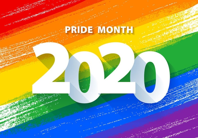 Pride month 2020 poster with rainbow LGBT flag vector background - paint style illustration. Lesbian, Gay, Bisexual and Transgender rights.