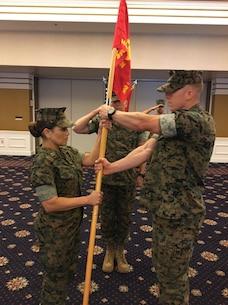 Headquarters and Service Battalion, Service Company  U.S. Marine Corps Capt. Dale A. Mortensen, transfers command of Service Company to Capt. Ana M. Devalle on June 12, 2020.