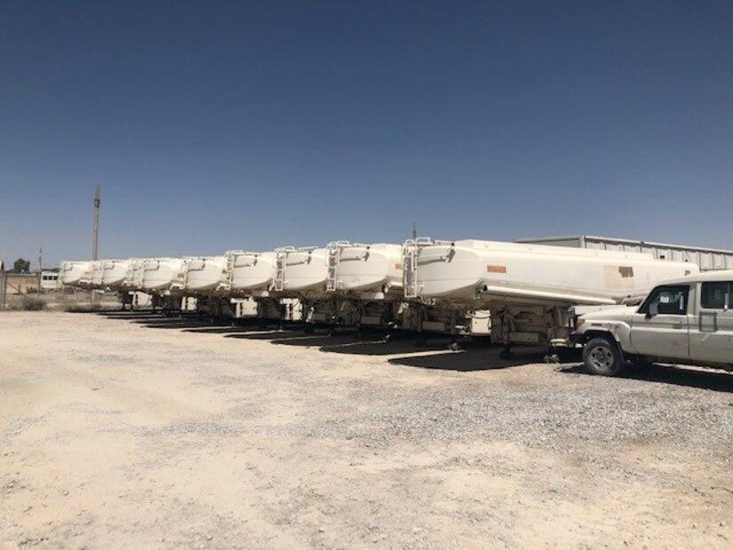 Tanks for ten NATO bulk fuel carriers awaiting destruction at DLA Disposition Services' Kandahar site.