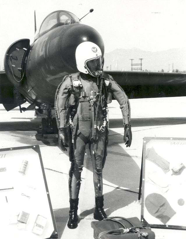 Pressure suits like the one pictured here help protect pilots at high altitudes. When U-2 pilots flew at Laughlin (1957-1963) they would have worn suits like these. You can see one up close at the entrance to the Anderson Hall auditorium in building 320! (Courtesy photo by Robert Marcell)