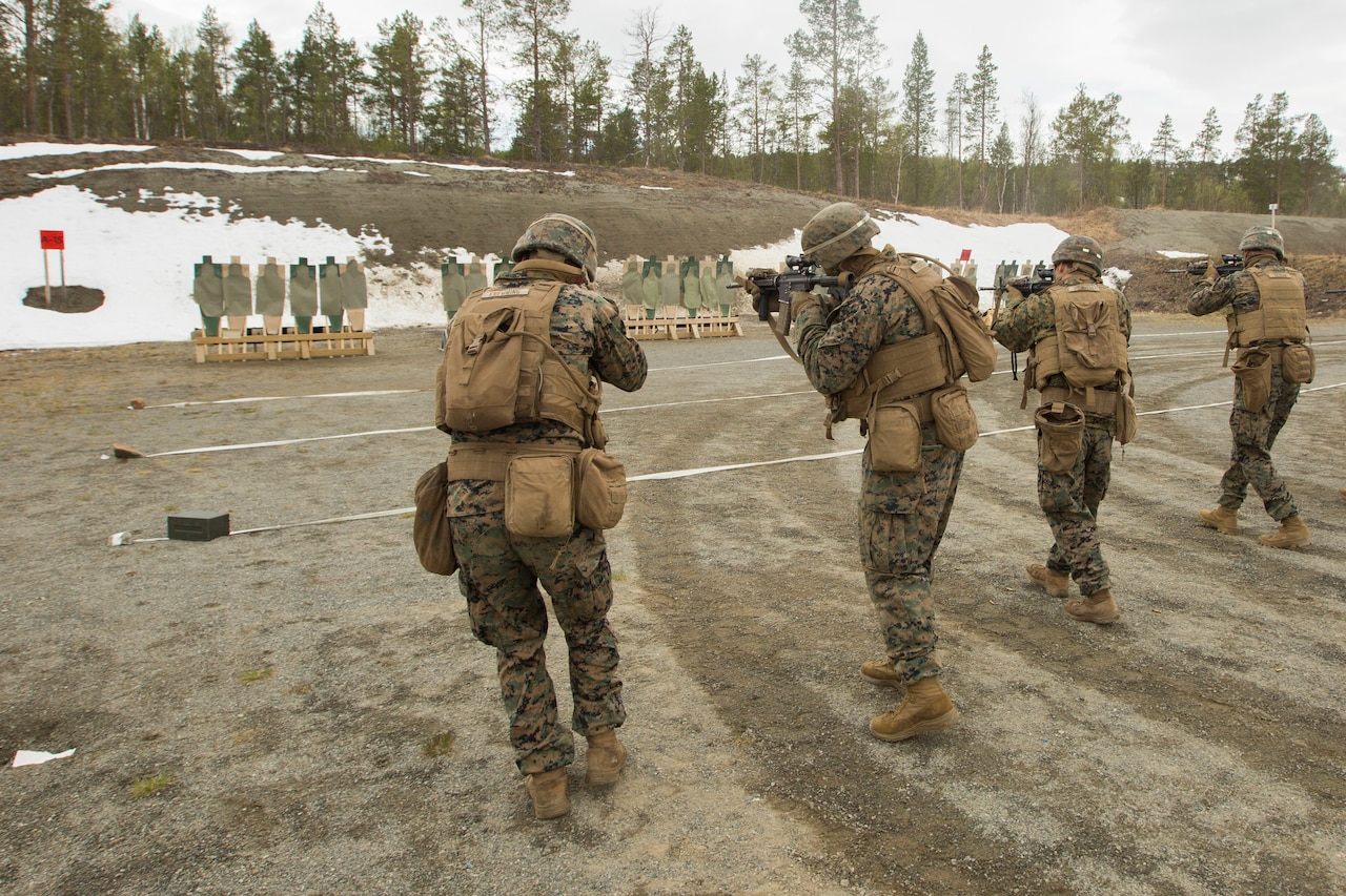 Four Marines with their backs to the camera fire rifles at targets.