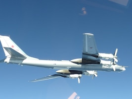 Photo of a Russian Tu-95 bomber flying in the Alaskan Air Defense Identification Zone June 16, 2020. The Russian military aircraft came within 32 nautical miles of Alaskan shores; however, remained in international airspace and at no time did they enter United States sovereign airspace.