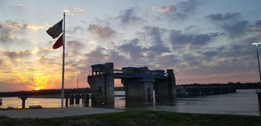 Sunrise at Olmsted Locks and Dam