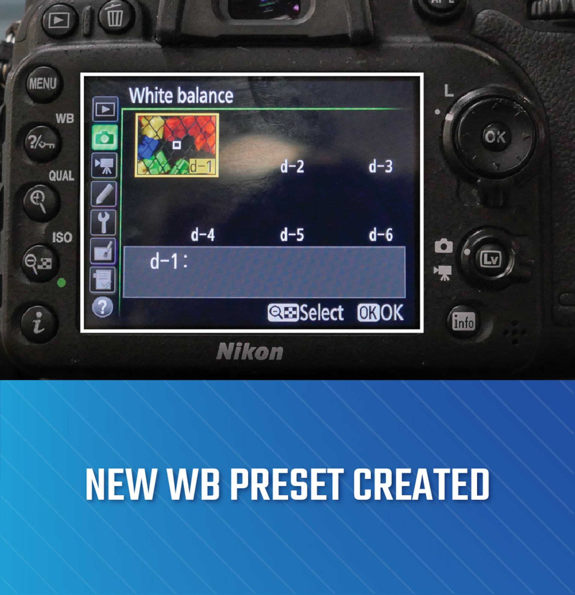 Camera with new white balance preset displaying on monitor