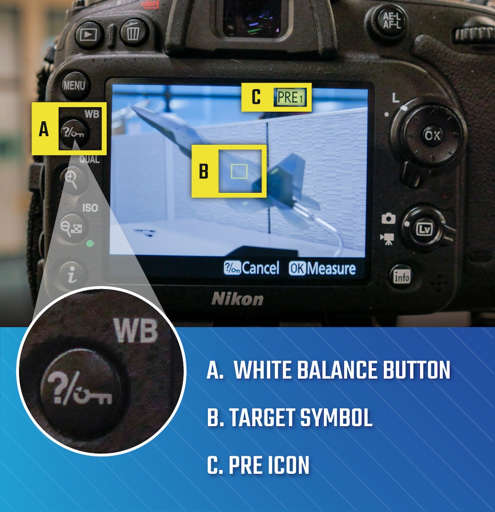 Camera with points to white balance button, target symbol on the display screen and pre setting on display