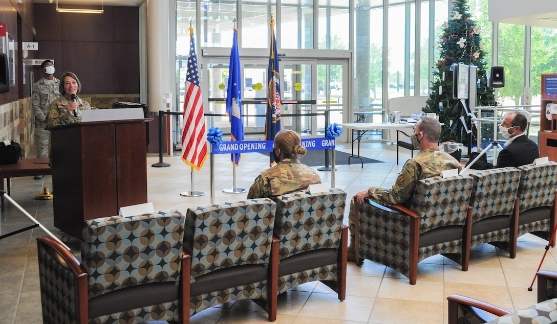 Col. Jennifer Trinkle, 72nd Medical Group commander, speaks before cutting the ribbon on the VA Primary Care Clinic at Tinker Air Force Base on June 15 at the 72nd Medical Group. This is the first VA clinic on base. This space allows for the care of all warriors and strengthens the partnership between military bases and the VA.