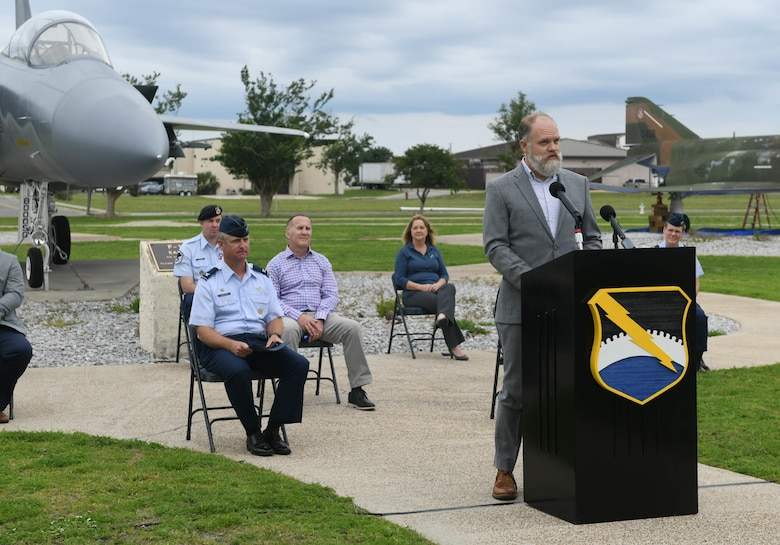 Will Cramer, Military Affairs Committee chairman, discusses the mutual benefits of the Community Partnership Program during a press conference at Tyndall Air Force Base, Florida, Jun. 17, 2020. The program promotes collaboration between the base and the local community. (U.S. Air Force photo by Airman Anabel Del Valle)