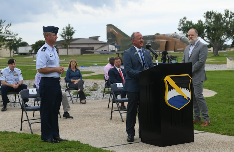 Glen McDonald, Gulf Coast State College Strategic Projects and Economic Development vice president, answers questions about the Community Partnership Program during a press conference at Tyndall Air Force Base, Florida, Jun. 17, 2020. The press conference highlighted five Community Partnership Program agreements designed to strengthen ties between the base and local community. (U.S. Air Force photo by Airman Anabel Del Valle)