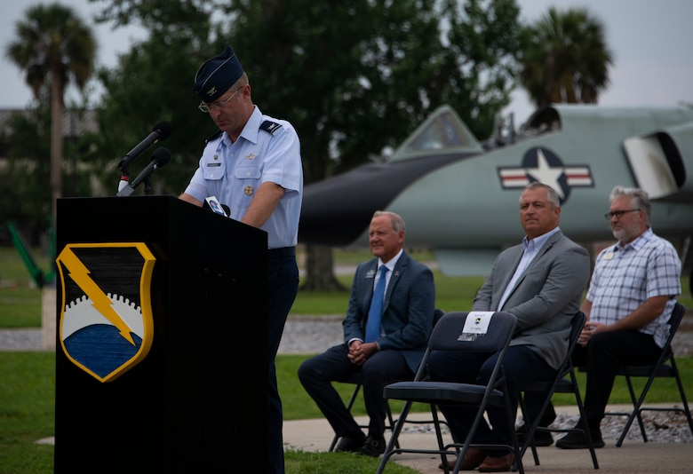 Col. Brian Laidlaw, 325th Fighter Wing commander, speaks during a press conference at Tyndall Air Force Base, Florida, Jun. 17, 2020. The press conference recognized five Community Partnership Program agreements between the base and local community. (U.S. Air Force photo by 2nd Lt. Kayla Fitzgerald)