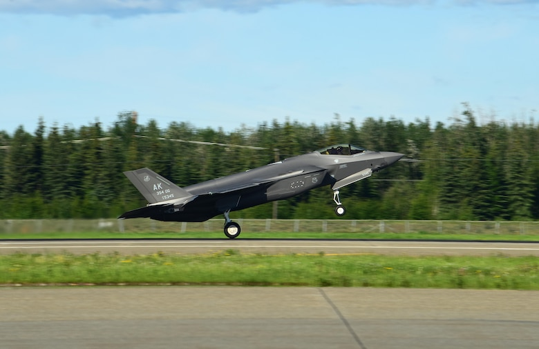 An F-35A Lightning II assigned to the 356th Fighter Squadron takes off from the Eielson Air Force Base flightline in Alaska, June 17, 2020.