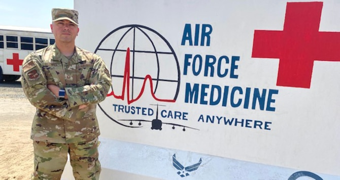 Master Sgt. David Flores, 380th Expeditionary Medical Group first sergeant, is responsible for the health, morale, conduct, and welfare of all Airmen in his unit. Flores, pictured in front of his unit's mural, June 16, 2020, is one of five Reservists who deployed here, all working in the same capacity in various units from the 301st Fighter Wing at Naval Air Station Joint Reserve Base, Fort Worth, Texas. (U.S. Air Force photo by Tech. Sgt. Melissa Harvey)