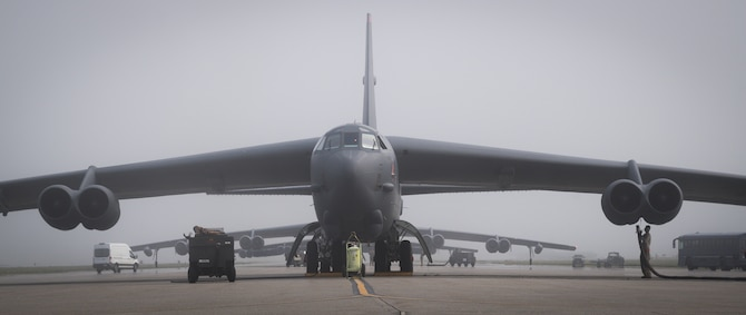 A B-52H Stratofortress deployed from Barksdale Air Force Base, La., prepares for take off from Eielson Air Force Base, Alaska, for a Bomber Task Force mission June 16, 2020. This Bomber Task Force brought B-52H Stratofortress bombers and 2nd Bomb Wing Airmen to the Indo-Pacific theater to test their ability to integrate and operate from a forward location. (U.S. Air Force photo by Senior Airman Lillian Miller)