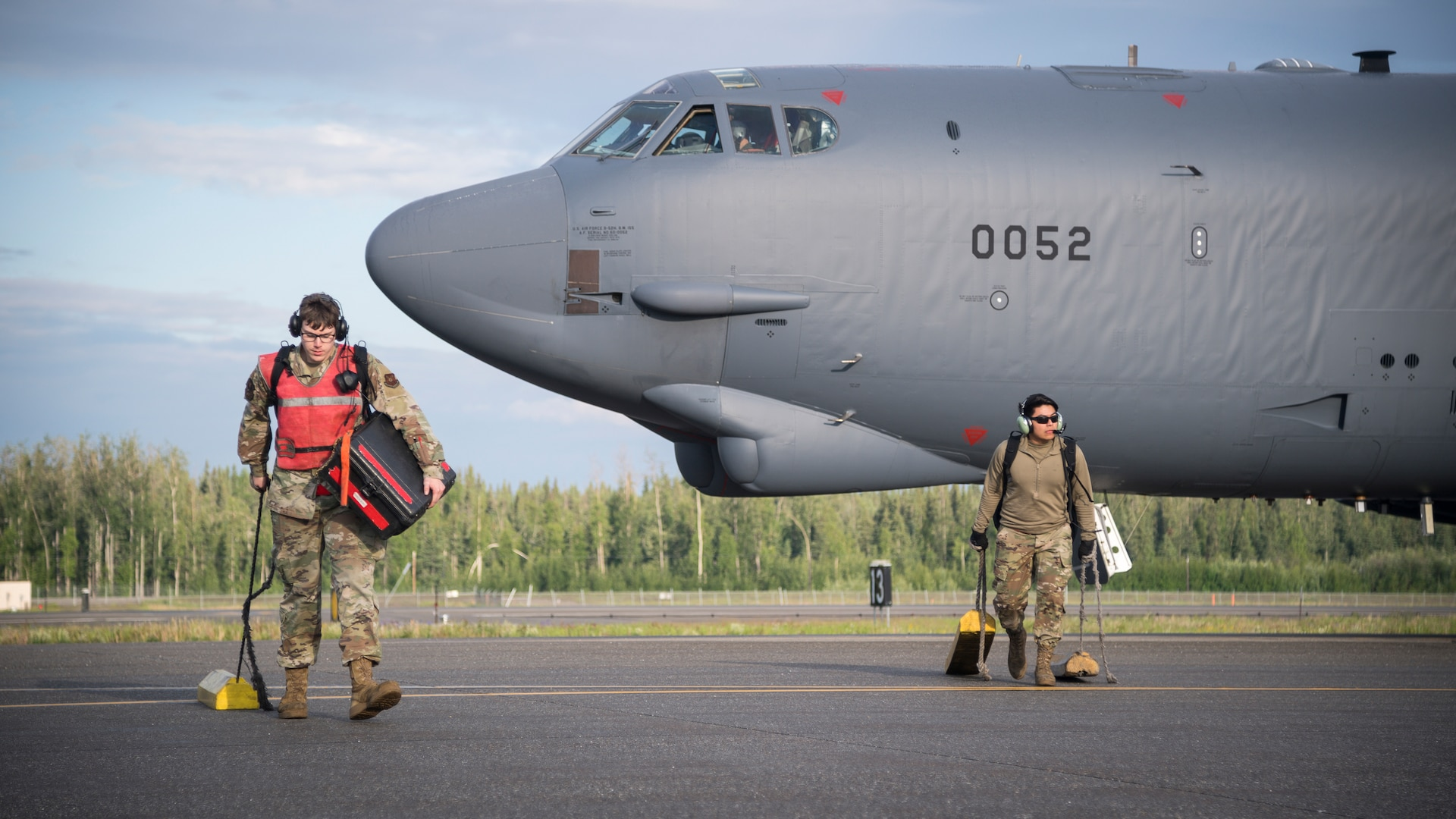 A B-52H Stratofortress deployed from Barksdale Air Force Base, La., taxis down the flight line at Eielson Air Force Base, Alaska, June 16, 2020. This Bomber Task Force brought B-52H Stratofortress bombers and 2nd Bomb Wing Airmen to the Indo-Pacific theater to test their ability to integrate and operate from a forward location. (U.S. Air Force photo by Senior Airman Lillian Miller)