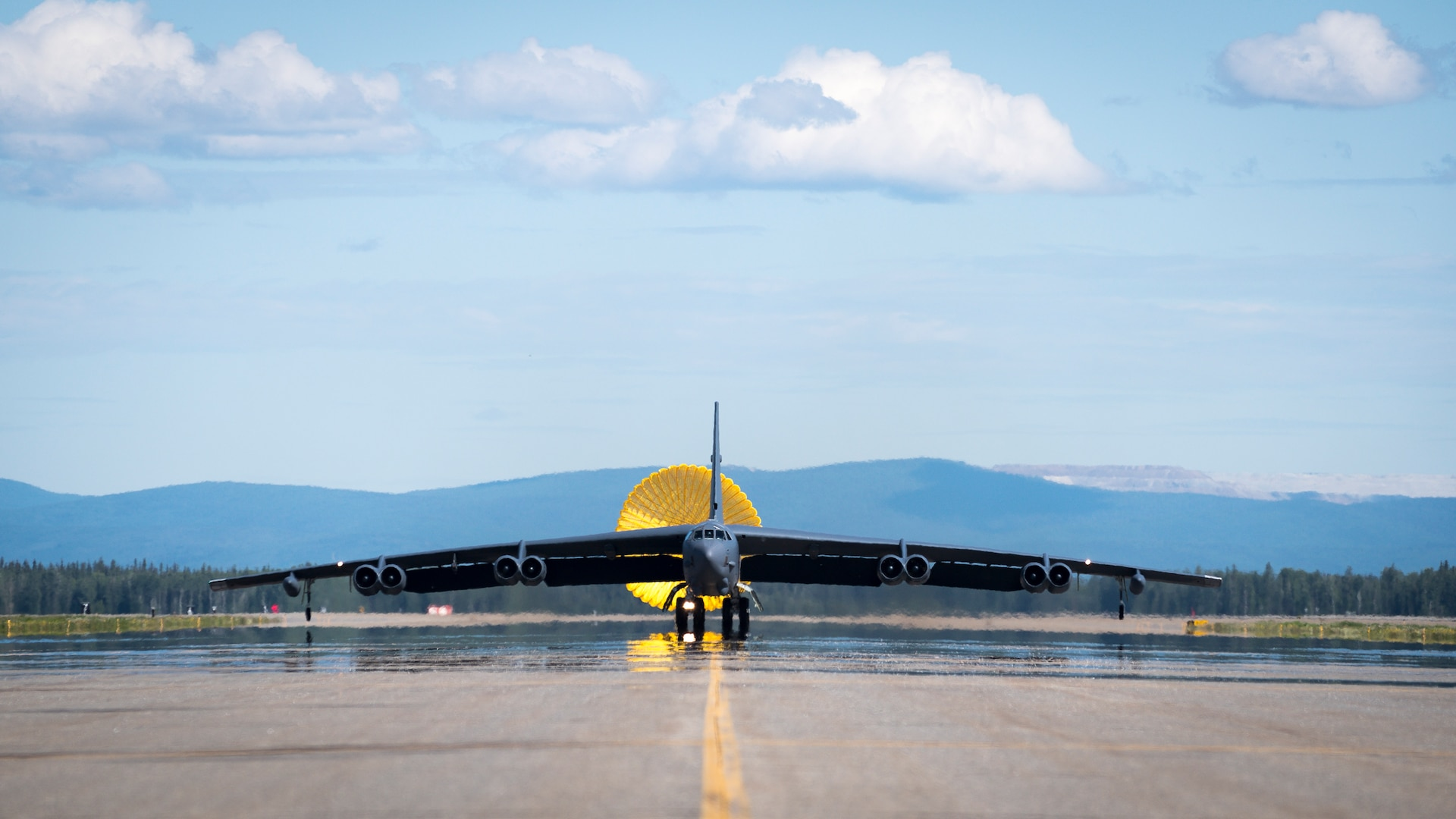 A B-52H Stratofortress deployed from Barksdale Air Force Base, La., taxis down the flightline at Eielson Air Force Base, Alaska, after conducting a Bomber Task Force mission over the Sea of Japan, June 17, 2020. Bomber Task Force missions help maintain global stability and security while enabling units to become familiar with operations in different regions. (U.S. Air Force photo by Senior Airman Lillian Miller)