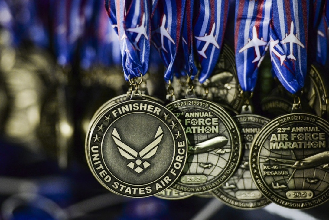 Due to the impact of the COVID-19 pandemic, to protect the health and safety for over 25,000 participants, volunteers and guests, with the exception of the virtual race, Air Force officials have cancelled the 2020 Air Force Marathon scheduled for Saturday, Sept. 19. Runners can still virtually complete the Air Force Marathon, half marathon, 10K, 5K, Tailwind Trot or Fly! Fight! Win! Challenge Series race. Runners will run their selected distance between Sept. 1-30. (U.S. Air Force photo/Wesley Farnsworth)